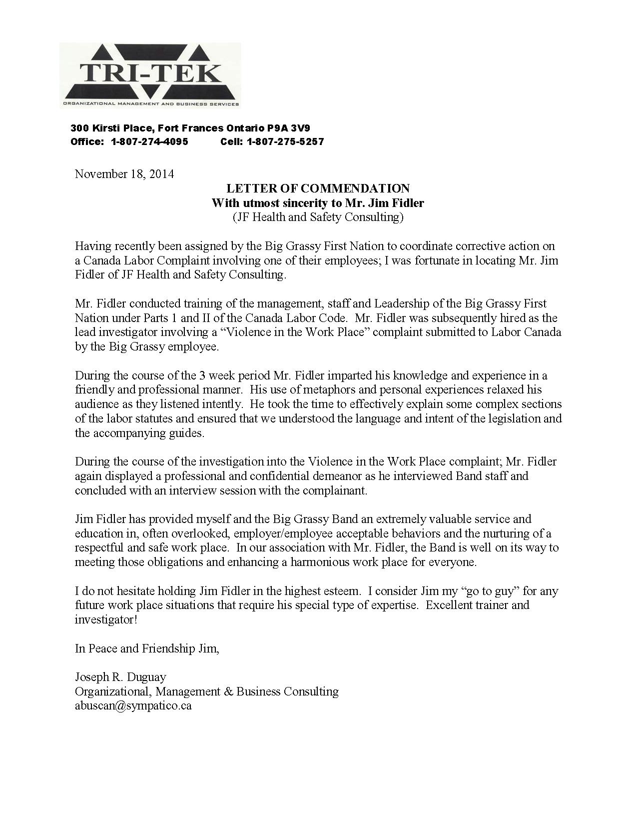 Letter of Commendation to Jim Fidler